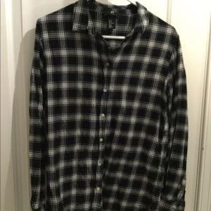 H & M black lightweight flannel button down